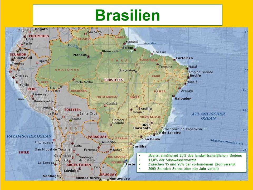 Brasilien Besitzt annähernd 25% des landwirtschaftlichen Bodens 13,8% der Süsswasservorräte Zwischen 15 und 20% der vorhandenen Biodiversität 3000 Stunden Sonne über das Jahr verteilt