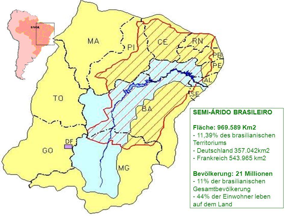 SEMI-ÁRIDO BRASILEIRO SEMI-ÁRIDO BRASILEIRO Fläche: 969.589 Km2 - 11,39% des brasilianischen Territoriums - Deutschland 357.042km2 - Frankreich 543.965 km2 Bevölkerung: 21 Millionen - 11% der brasilianischen Gesamtbevölkerung - 44% der Einwohner leben auf dem Land