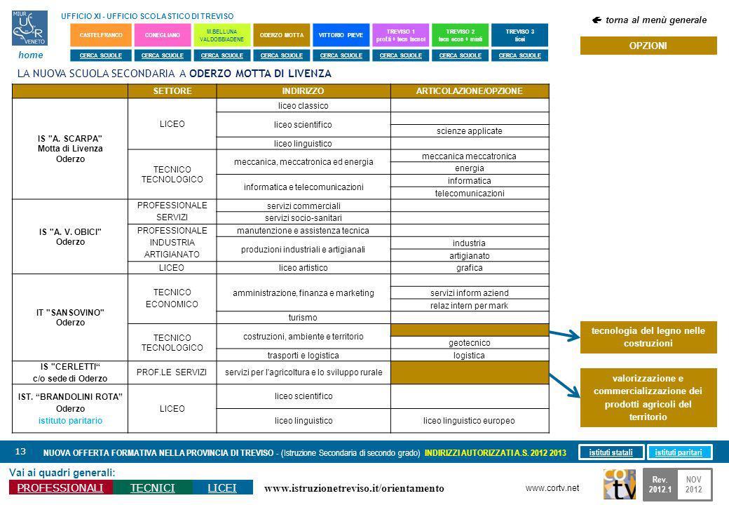 www.istruzionetreviso.it/orientamento 13 Vai ai quadri generali: PROFESSIONALITECNICILICEI NUOVA OFFERTA FORMATIVA NELLA PROVINCIA DI TREVISO - (Istru