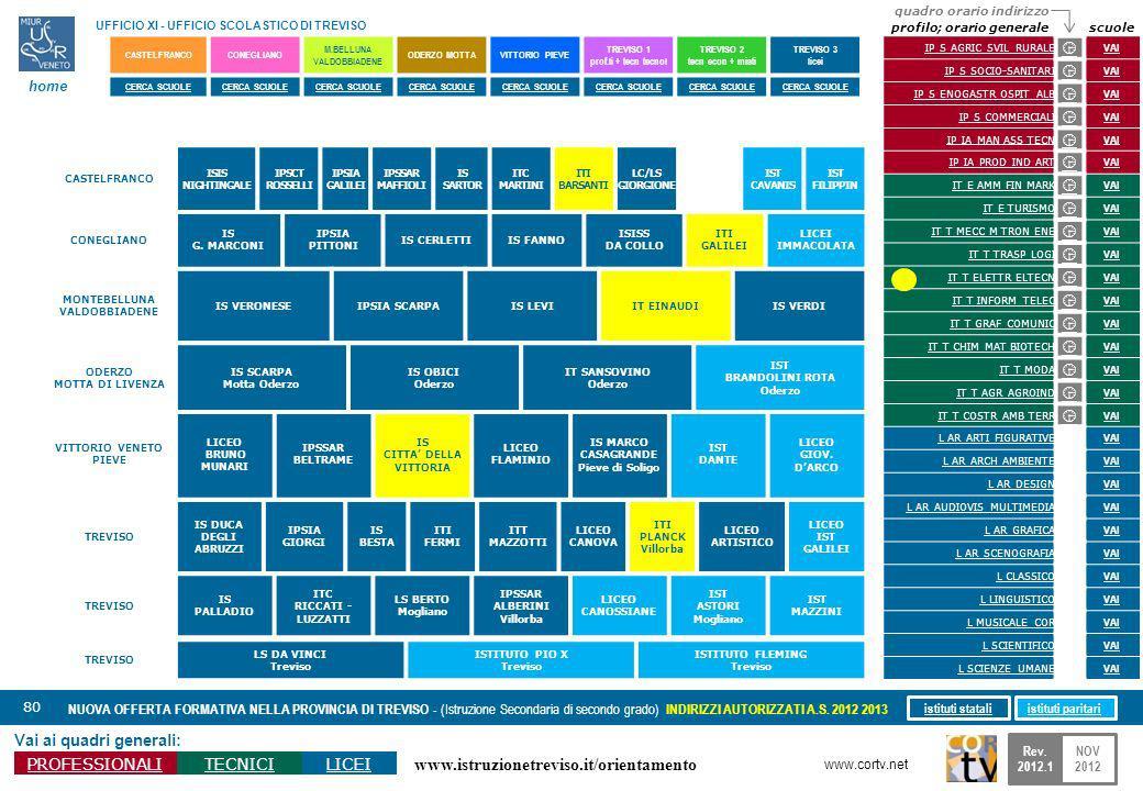 www.istruzionetreviso.it/orientamento 80 Vai ai quadri generali: PROFESSIONALITECNICILICEI NUOVA OFFERTA FORMATIVA NELLA PROVINCIA DI TREVISO - (Istru