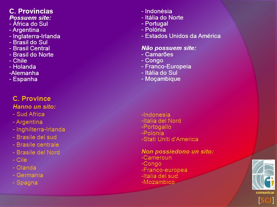 comunicar [SCJ] C. Province Hanno un sito: - Sud Africa - Argentina - Inghilterra-Irlanda - Brasile del sud - Brasile centrale - Brasile del Nord - Ci