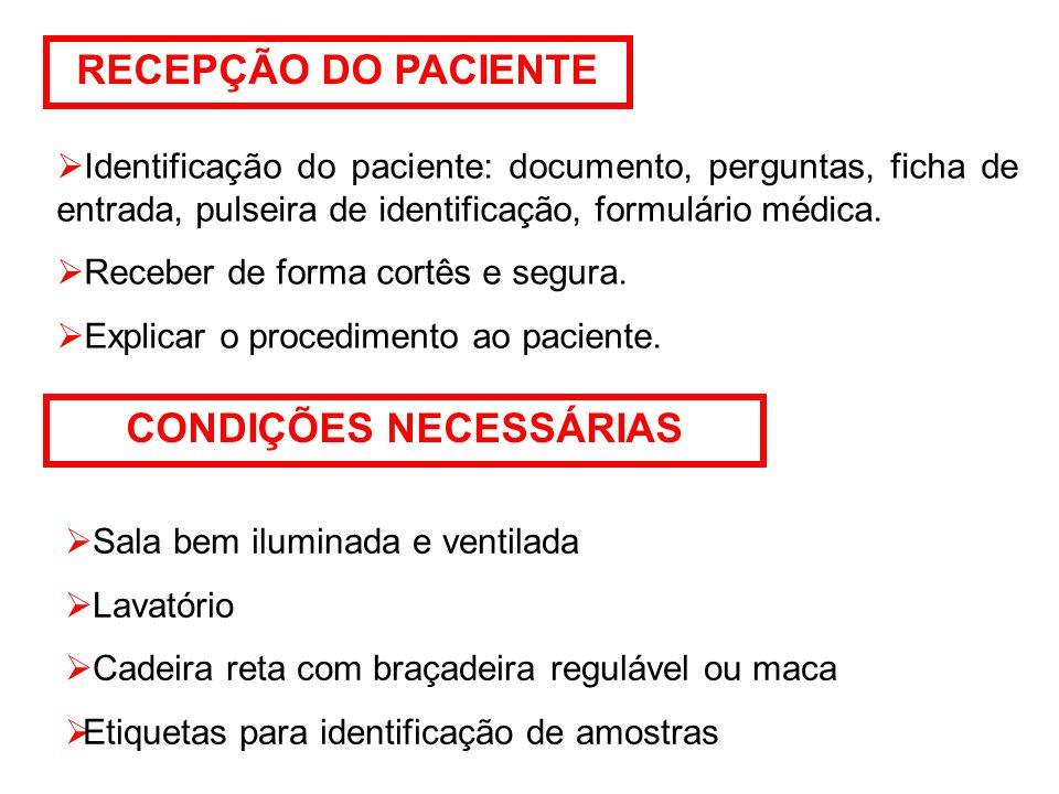 RECEPÇÃO DO PACIENTE  Identificação do paciente: documento, perguntas, ficha de entrada, pulseira de identificação, formulário médica.
