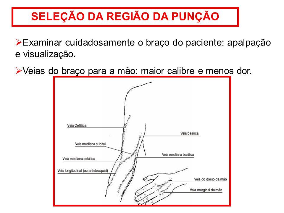 SELEÇÃO DA REGIÃO DA PUNÇÃO  Examinar cuidadosamente o braço do paciente: apalpação e visualização.