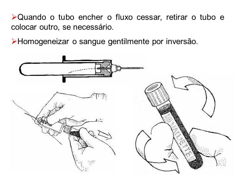  Quando o tubo encher o fluxo cessar, retirar o tubo e colocar outro, se necessário.