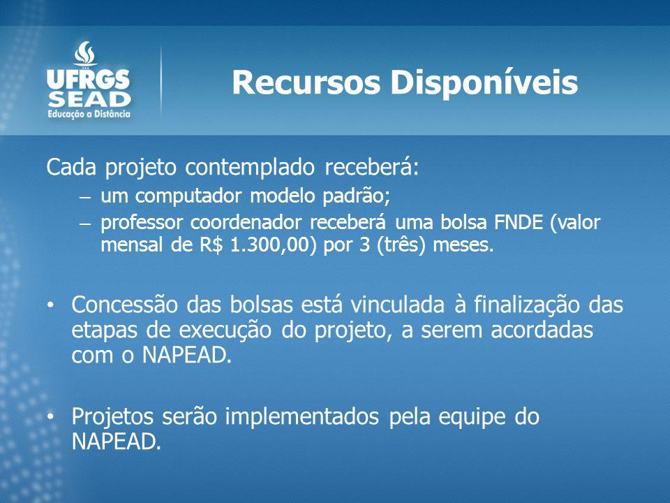 Recursos Disponíveis Cada projeto contemplado receberá: – um computador modelo padrão; – professor coordenador receberá uma bolsa FNDE (valor mensal de R$ 1.300,00) por 3 (três) meses.