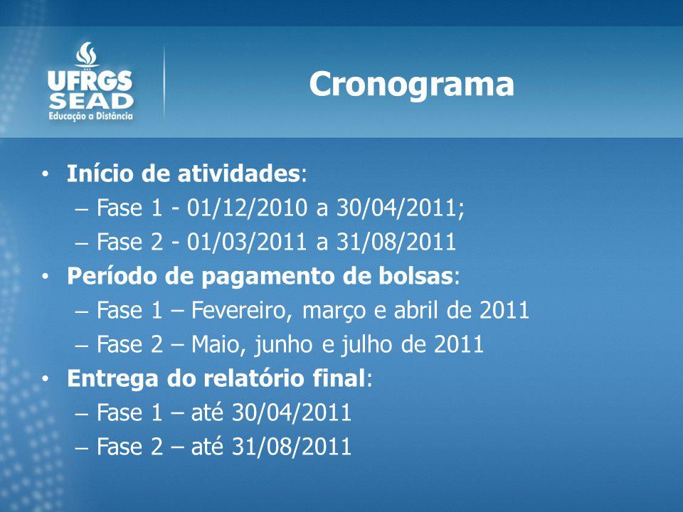 Cronograma Início de atividades: – Fase 1 - 01/12/2010 a 30/04/2011; – Fase 2 - 01/03/2011 a 31/08/2011 Período de pagamento de bolsas: – Fase 1 – Fevereiro, março e abril de 2011 – Fase 2 – Maio, junho e julho de 2011 Entrega do relatório final: – Fase 1 – até 30/04/2011 – Fase 2 – até 31/08/2011