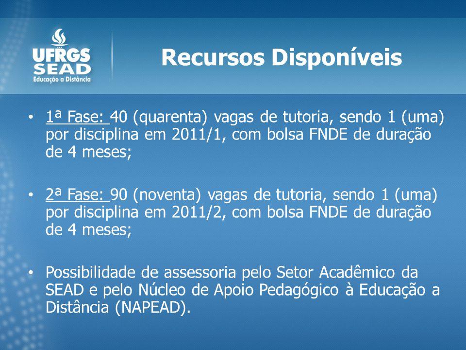 Recursos Disponíveis 1ª Fase: 40 (quarenta) vagas de tutoria, sendo 1 (uma) por disciplina em 2011/1, com bolsa FNDE de duração de 4 meses; 2ª Fase: 90 (noventa) vagas de tutoria, sendo 1 (uma) por disciplina em 2011/2, com bolsa FNDE de duração de 4 meses; Possibilidade de assessoria pelo Setor Acadêmico da SEAD e pelo Núcleo de Apoio Pedagógico à Educação a Distância (NAPEAD).
