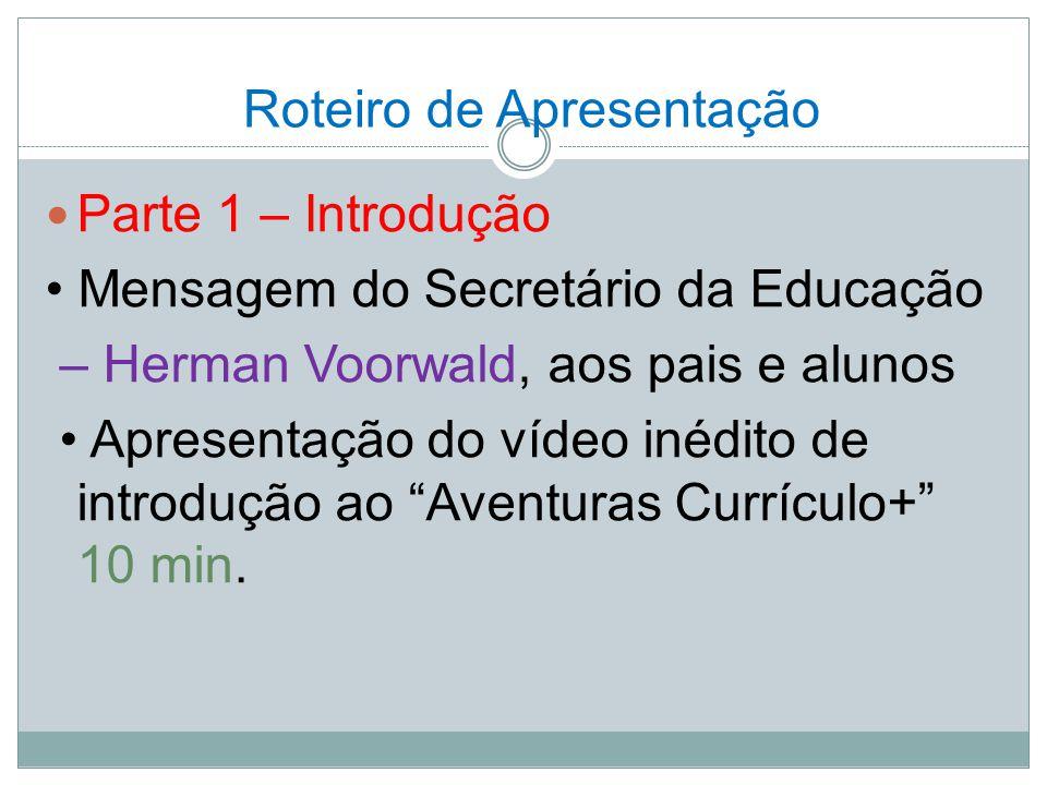 Roteiro de Apresentação Parte 1 – Introdução Mensagem do Secretário da Educação – Herman Voorwald, aos pais e alunos Apresentação do vídeo inédito de