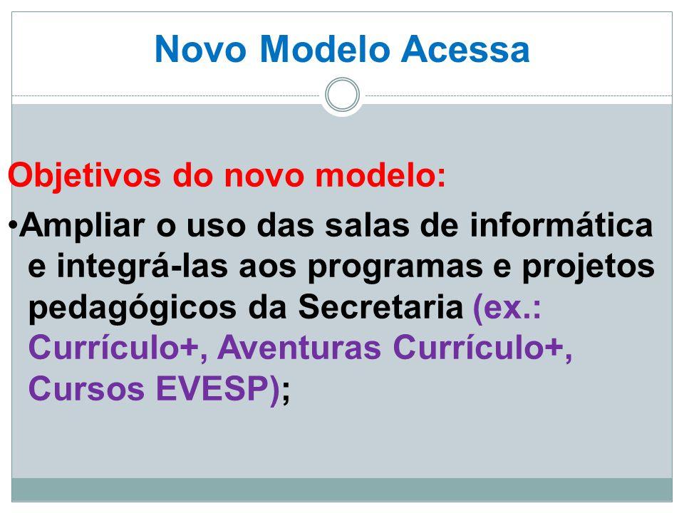 Novo Modelo Acessa Objetivos do novo modelo: Ampliar o uso das salas de informática e integrá-las aos programas e projetos pedagógicos da Secretaria (
