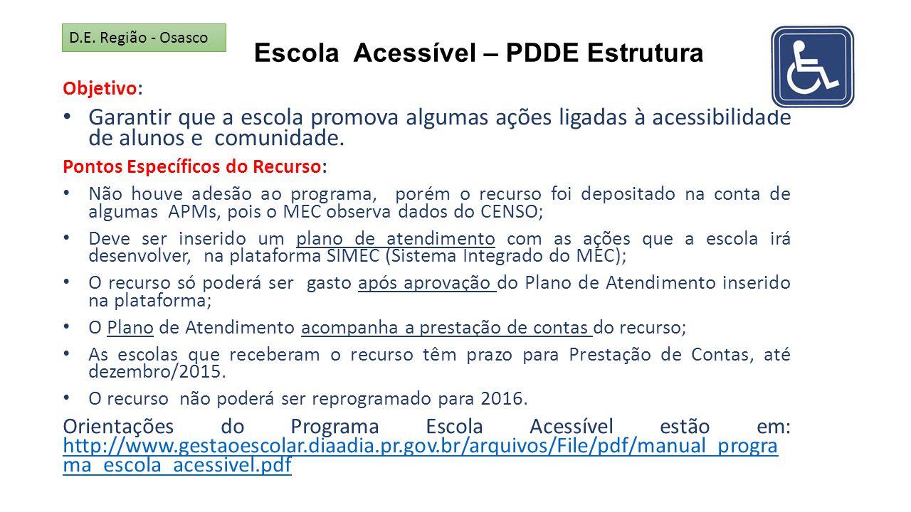 Escola Acessível – PDDE Estrutura Objetivo: Garantir que a escola promova algumas ações ligadas à acessibilidade de alunos e comunidade. Pontos Especí