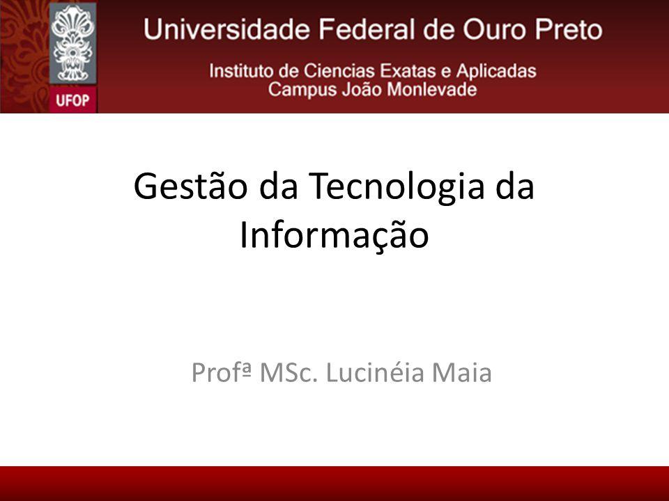 Gestão da Tecnologia da Informação Profª MSc. Lucinéia Maia