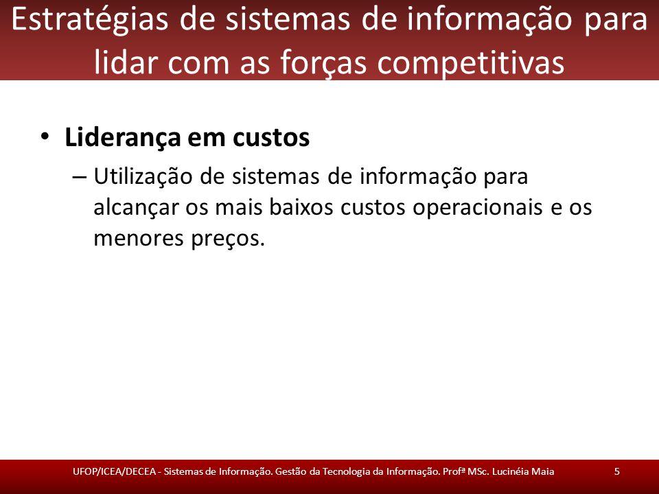 Estratégias de sistemas de informação para lidar com as forças competitivas Liderança em custos – Utilização de sistemas de informação para alcançar os mais baixos custos operacionais e os menores preços.
