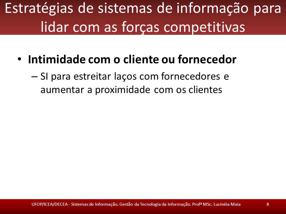 Estratégias de sistemas de informação para lidar com as forças competitivas Intimidade com o cliente ou fornecedor – SI para estreitar laços com fornecedores e aumentar a proximidade com os clientes UFOP/ICEA/DECEA - Sistemas de Informação.
