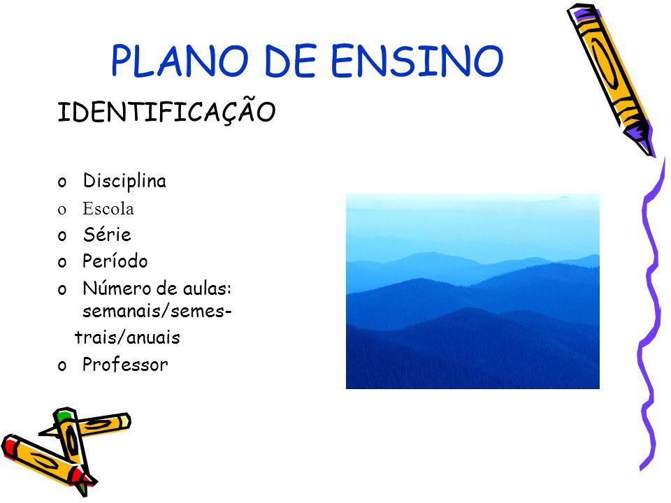 PLANO DE ENSINO IDENTIFICAÇÃO oDisciplina oEscola oSérie oPeríodo oNúmero de aulas: semanais/semes- trais/anuais oProfessor