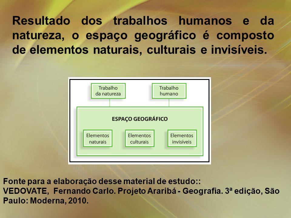 Resultado dos trabalhos humanos e da natureza, o espaço geográfico é composto de elementos naturais, culturais e invisíveis.