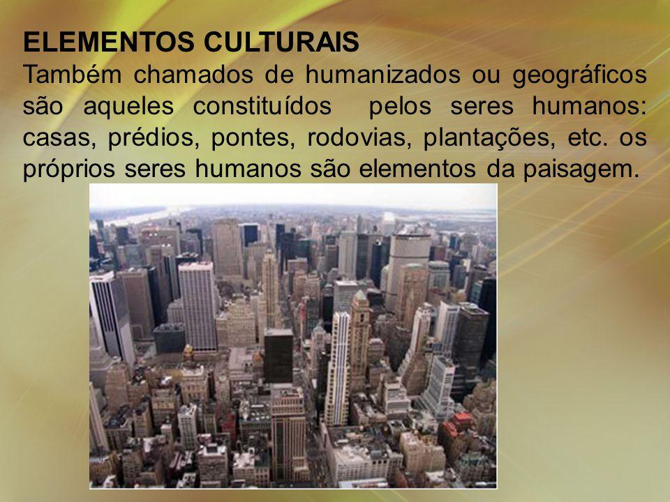 ELEMENTOS CULTURAIS Também chamados de humanizados ou geográficos são aqueles constituídos pelos seres humanos: casas, prédios, pontes, rodovias, plantações, etc.