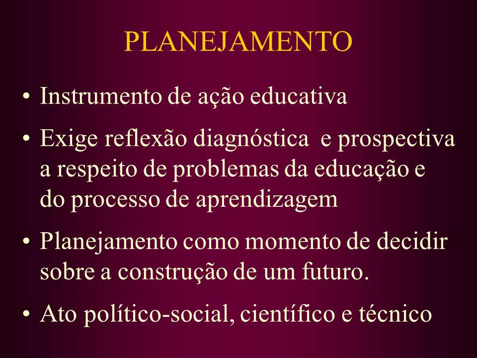 PLANEJAMENTO Instrumento de ação educativa Exige reflexão diagnóstica e prospectiva a respeito de problemas da educação e do processo de aprendizagem Planejamento como momento de decidir sobre a construção de um futuro.
