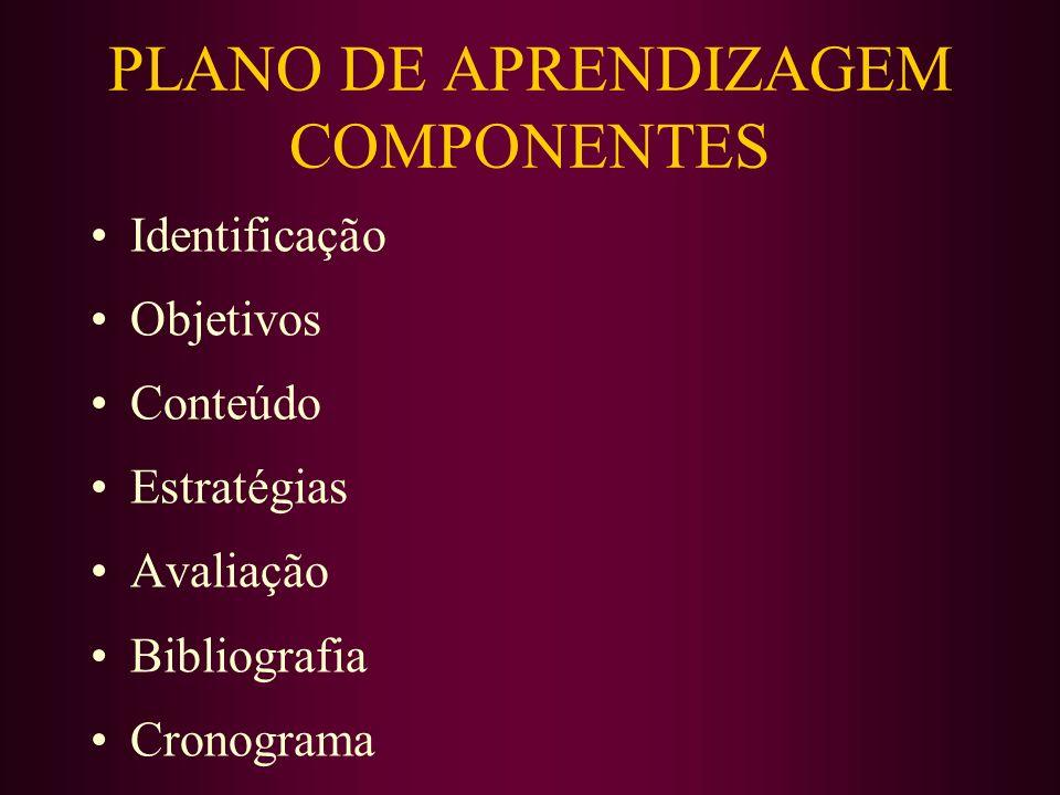 PLANO DE APRENDIZAGEM COMPONENTES Identificação Objetivos Conteúdo Estratégias Avaliação Bibliografia Cronograma