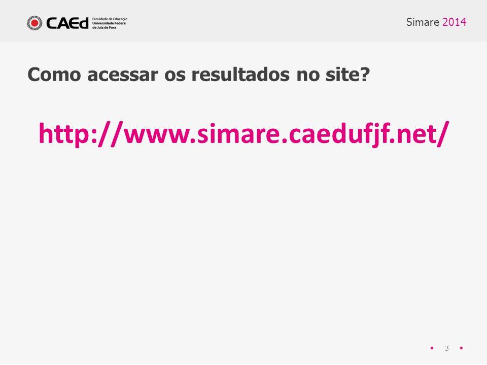 Simare 2014 3 Como acessar os resultados no site? http://www.simare.caedufjf.net/