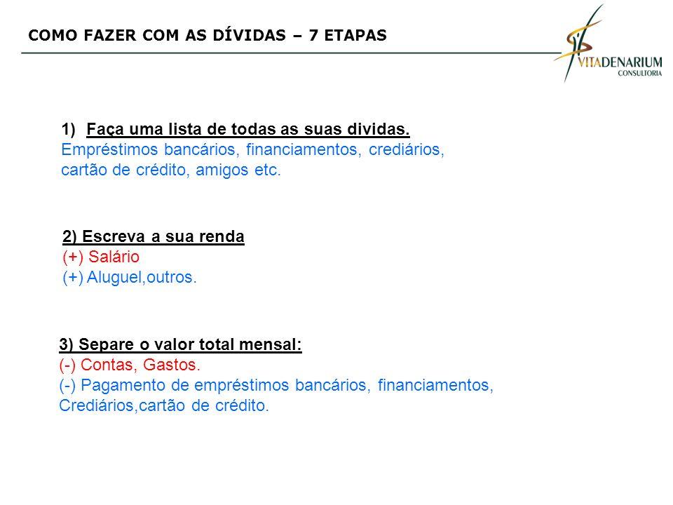 COMO FAZER COM AS DÍVIDAS – 7 ETAPAS 1)Faça uma lista de todas as suas dividas.