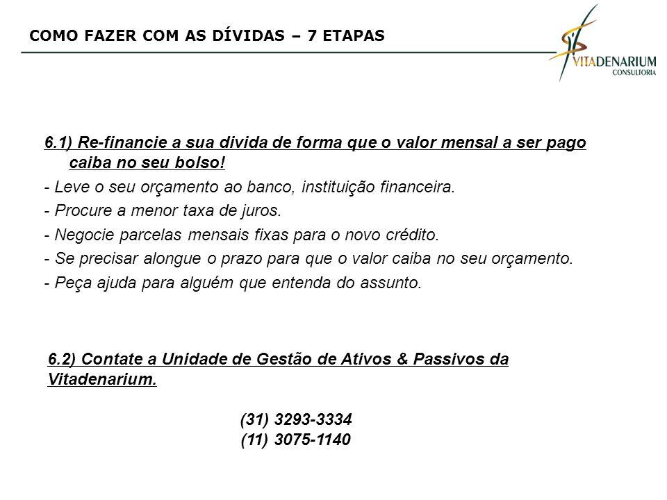 6.1) Re-financie a sua divida de forma que o valor mensal a ser pago caiba no seu bolso! - Leve o seu orçamento ao banco, instituição financeira. - Pr