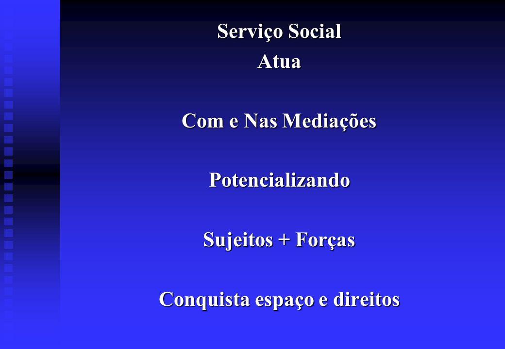 Serviço Social Atua Com e Nas Mediações Potencializando Sujeitos + Forças Conquista espaço e direitos
