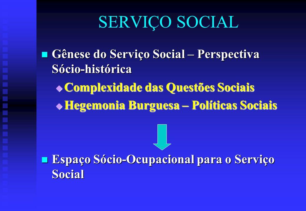 SERVIÇO SOCIAL Gênese do Serviço Social – Perspectiva Sócio-histórica Gênese do Serviço Social – Perspectiva Sócio-histórica  Complexidade das Questões Sociais  Hegemonia Burguesa – Políticas Sociais Espaço Sócio-Ocupacional para o Serviço Social Espaço Sócio-Ocupacional para o Serviço Social