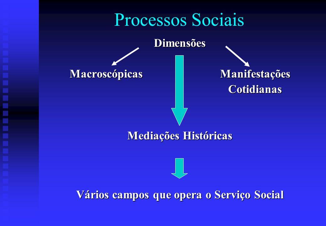 Processos Sociais Dimensões Macroscópicas Manifestações Cotidianas Cotidianas Mediações Históricas Vários campos que opera o Serviço Social