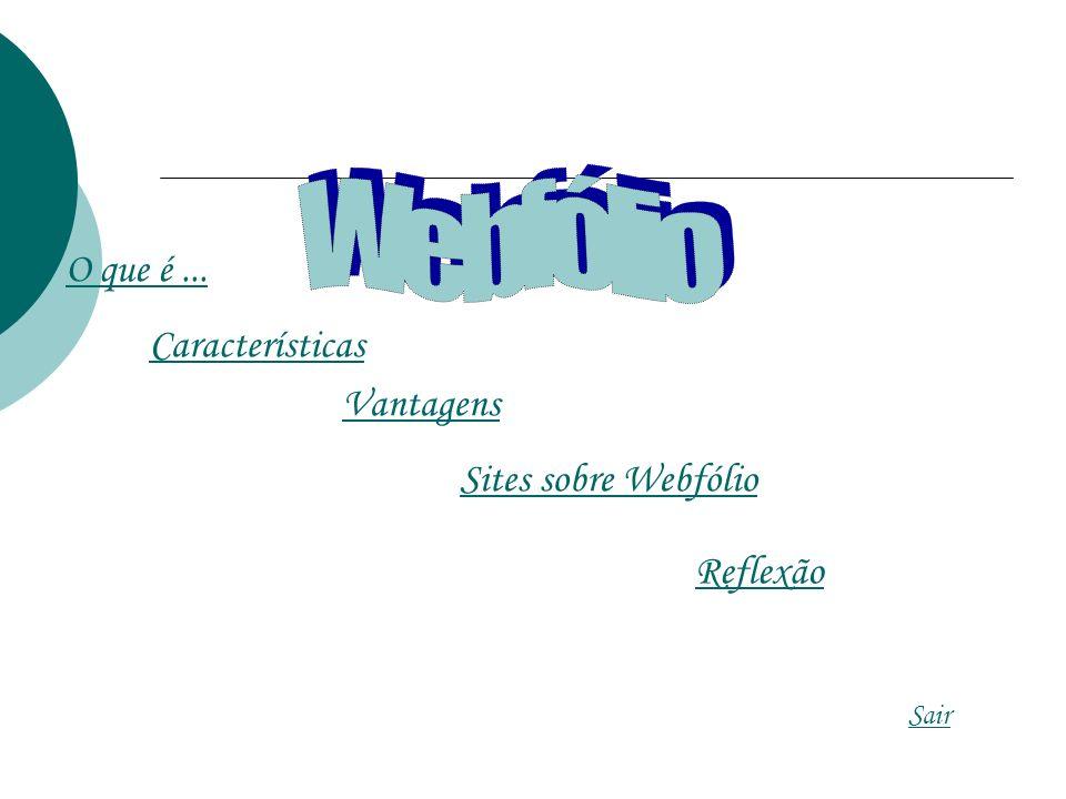 O que é... Características Vantagens Sites sobre Webfólio Reflexão Sair