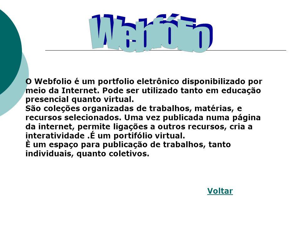 O Webfolio é um portfolio eletrônico disponibilizado por meio da Internet.
