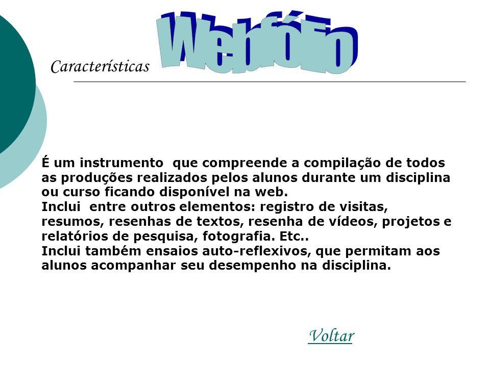 Características Voltar É um instrumento que compreende a compilação de todos as produções realizados pelos alunos durante um disciplina ou curso ficando disponível na web.