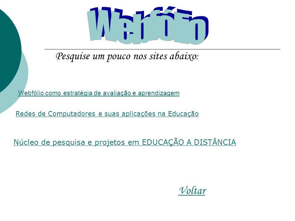 Pesquise um pouco nos sites abaixo : Voltar Webfólio como estratégia de avaliação e aprendizagem Redes de Computadores e suas aplicações na Educação Núcleo de pesquisa e projetos em EDUCAÇÃO A DISTÂNCIA