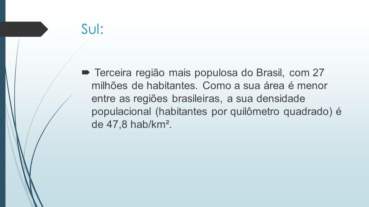 Sul:  Terceira região mais populosa do Brasil, com 27 milhões de habitantes. Como a sua área é menor entre as regiões brasileiras, a sua densidade po