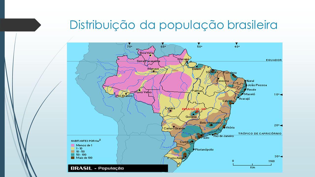 A distribuição da população brasileira é muito limitada às zonas litorâneas do país.
