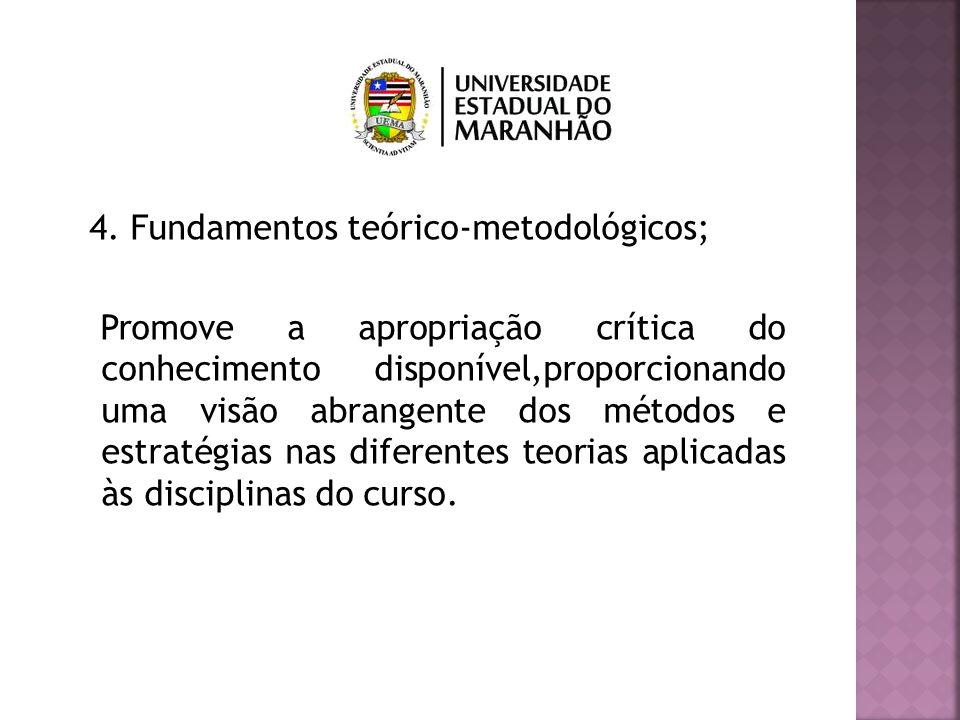 4. Fundamentos teórico-metodológicos; Promove a apropriação crítica do conhecimento disponível,proporcionando uma visão abrangente dos métodos e estra