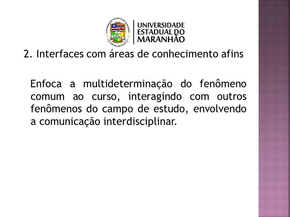 2. Interfaces com áreas de conhecimento afins Enfoca a multideterminação do fenômeno comum ao curso, interagindo com outros fenômenos do campo de estu