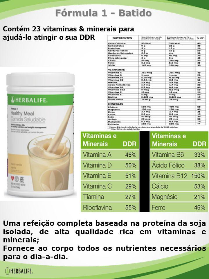 Contém 23 vitaminas & minerais para ajudá-lo atingir o sua DDR Uma refeição completa baseada na proteína da soja isolada, de alta qualidade rica em vitaminas e minerais; Fornece ao corpo todos os nutrientes necessários para o dia-a-dia.