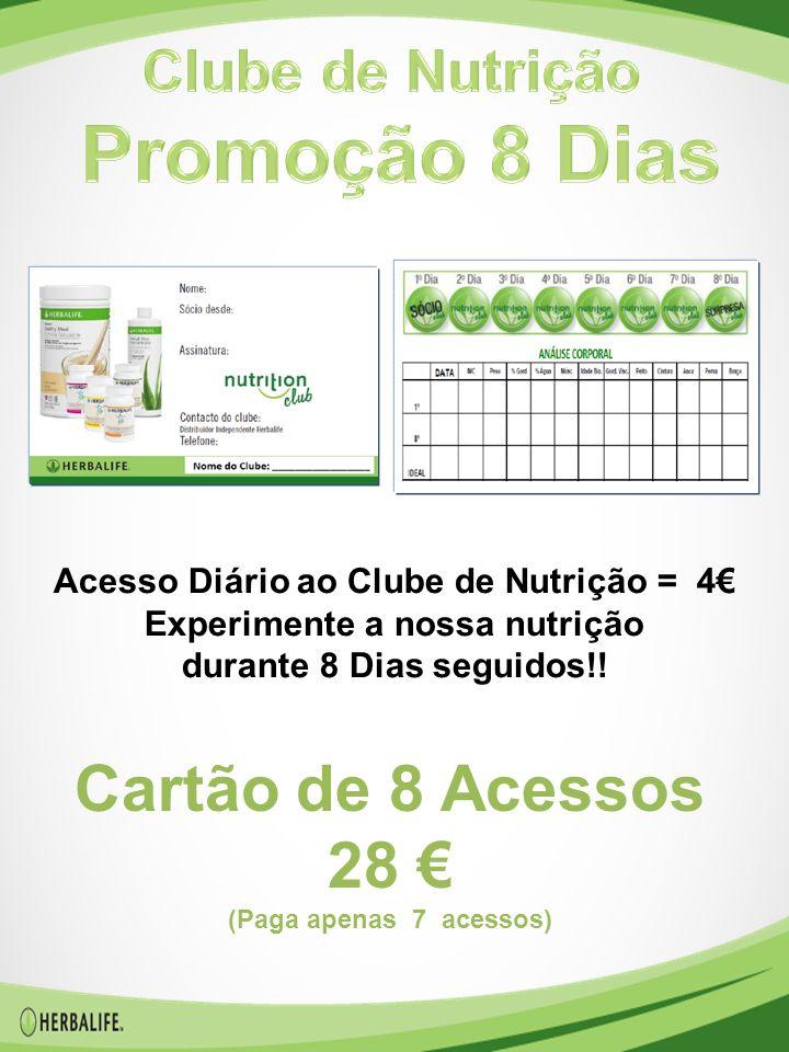 Acesso Diário ao Clube de Nutrição = 4€ Experimente a nossa nutrição durante 8 Dias seguidos!.
