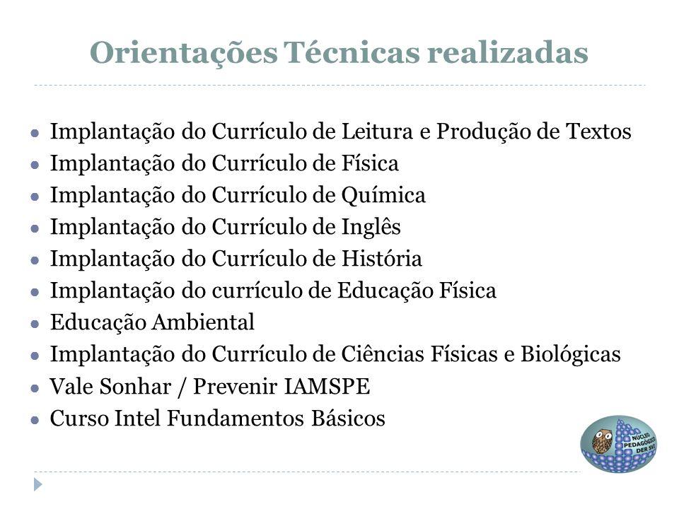 ● Implantação do Currículo de Leitura e Produção de Textos ● Implantação do Currículo de Física ● Implantação do Currículo de Química ● Implantação do