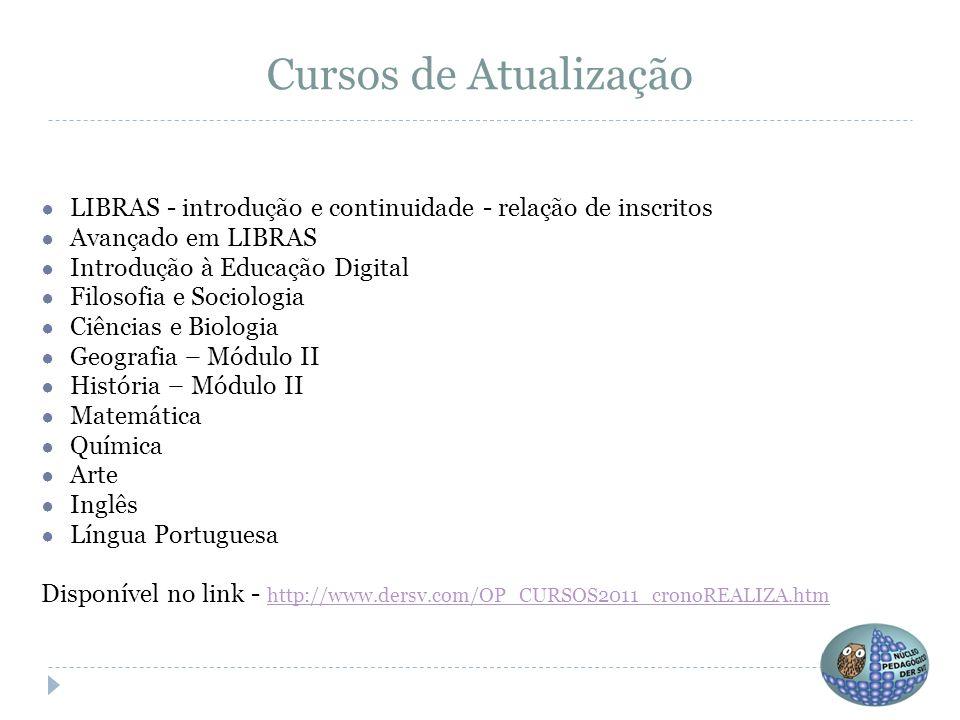 Cursos de Atualização ● LIBRAS - introdução e continuidade - relação de inscritos ● Avançado em LIBRAS ● Introdução à Educação Digital ● Filosofia e S