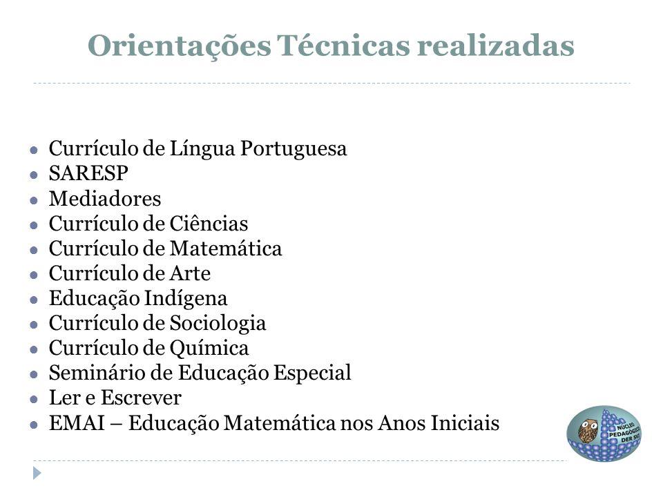 ● Currículo de Língua Portuguesa ● SARESP ● Mediadores ● Currículo de Ciências ● Currículo de Matemática ● Currículo de Arte ● Educação Indígena ● Cur