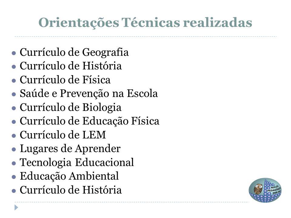 ● Currículo de Geografia ● Currículo de História ● Currículo de Física ● Saúde e Prevenção na Escola ● Currículo de Biologia ● Currículo de Educação F