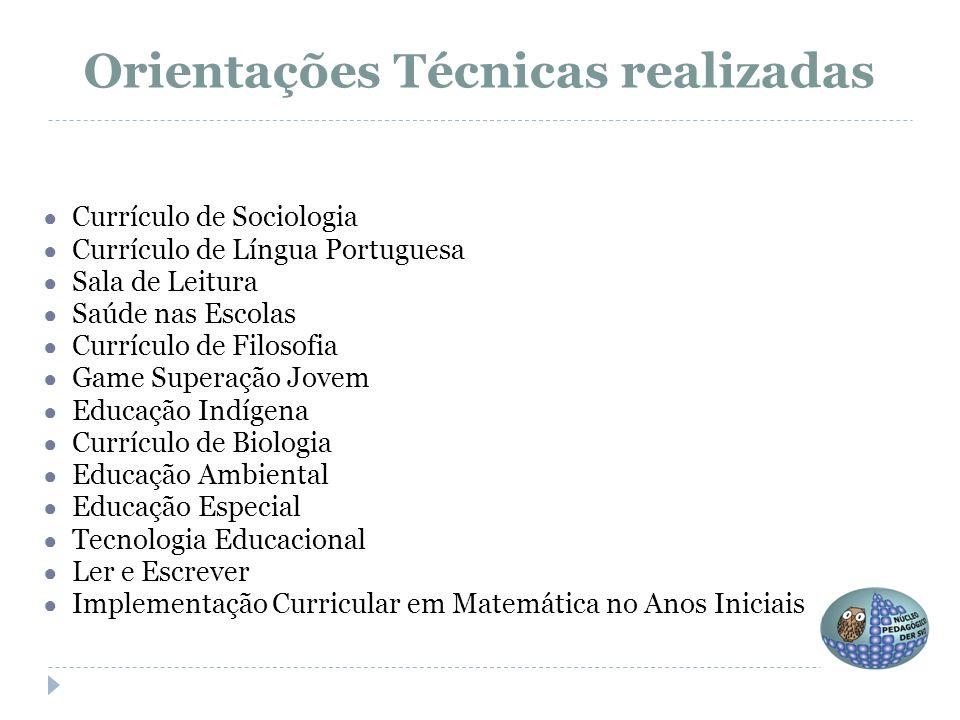● Currículo de Sociologia ● Currículo de Língua Portuguesa ● Sala de Leitura ● Saúde nas Escolas ● Currículo de Filosofia ● Game Superação Jovem ● Edu