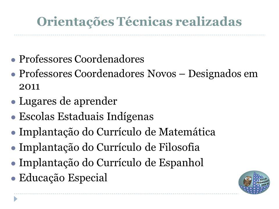 Orientações Técnicas realizadas ● Professores Coordenadores ● Professores Coordenadores Novos – Designados em 2011 ● Lugares de aprender ● Escolas Est
