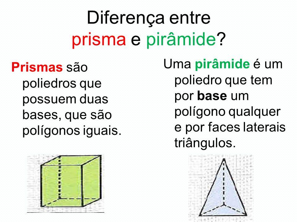 Diferença entre prisma e pirâmide? Uma pirâmide é um poliedro que tem por base um polígono qualquer e por faces laterais triângulos. Prismas são polie