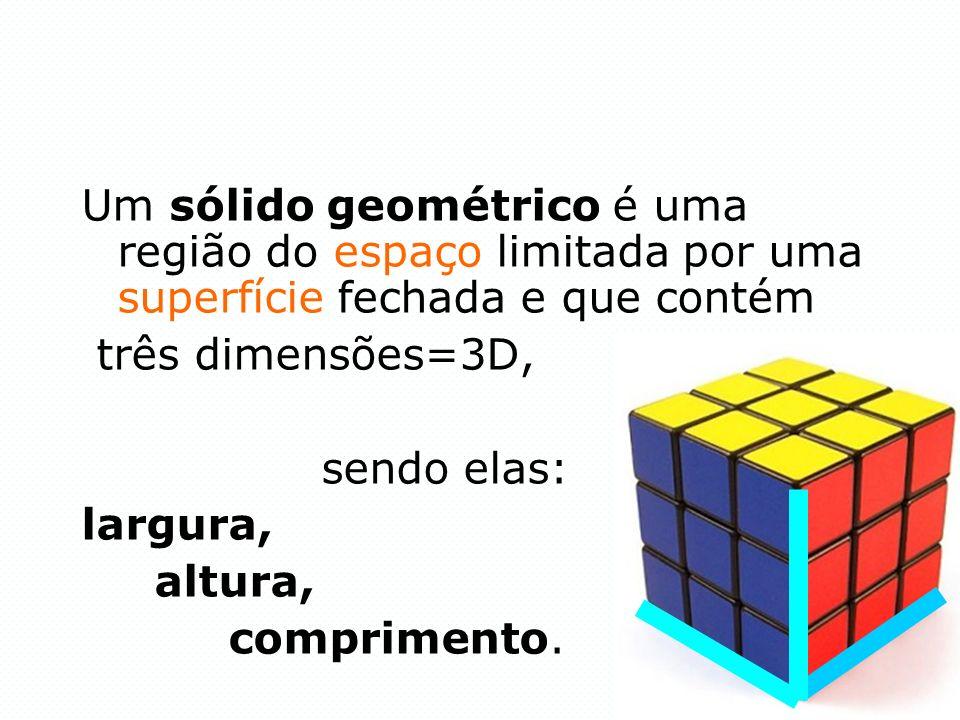 Um sólido geométrico é uma região do espaço limitada por uma superfície fechada e que contém três dimensões=3D, sendo elas: largura, altura, comprimen