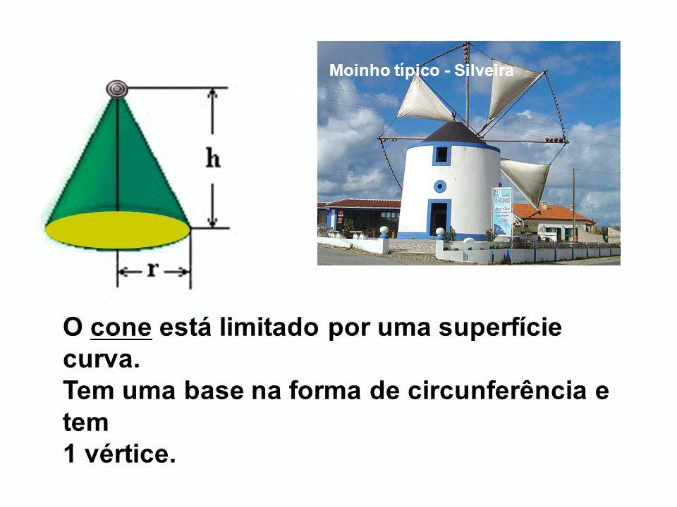 109m O cone está limitado por uma superfície curva. Tem uma base na forma de circunferência e tem 1 vértice. Moinho típico - Silveira