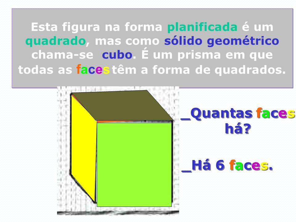 Esta figura na forma planificada é um quadrado, mas como sólido geométrico chama-se cubo. É um prisma em que todas as faces têm a forma de quadrados.