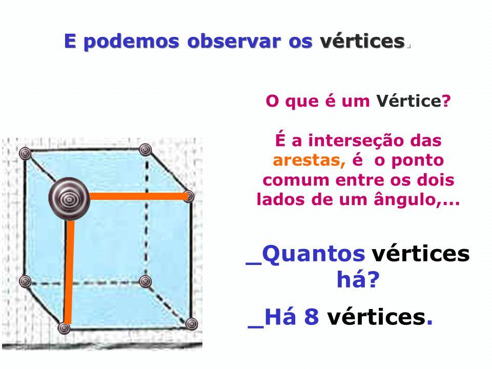 E podemos observar os vértices. _Quantos vértices há? O que é um Vértice? É a interseção das arestas, é o ponto comum entre os dois lados de um ângulo