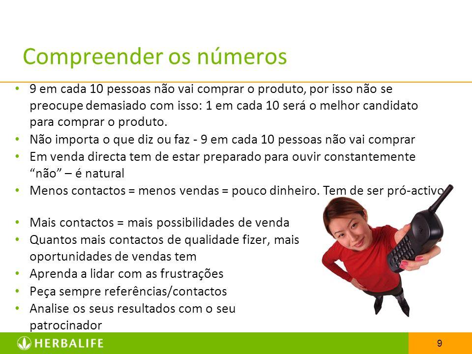 9 Compreender os números Mais contactos = mais possibilidades de venda Quantos mais contactos de qualidade fizer, mais oportunidades de vendas tem Apr